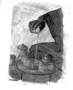 Uno de los dibujos de María Jesús Alvarado que ilustran Suerte Mulana